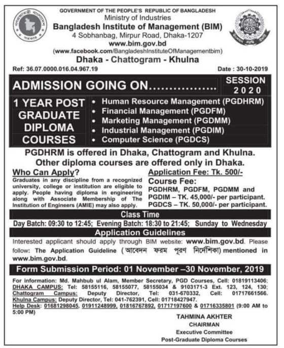 Bangladesh Institute of Management (BIM) Post-Graduate Admission